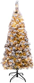 Best Choice Products 4.5ft Pre-Lit Artificial Snow Flocked Pencil Christmas Tree Holiday Decoration w/ 150 Clear Lights