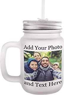 Personalized Mason Jar with Name and Text - Add Your Photo, Text, Logo, Monogram - 8 Different Fonts & Colors - 12oz Mason Jar with Lid and Straw