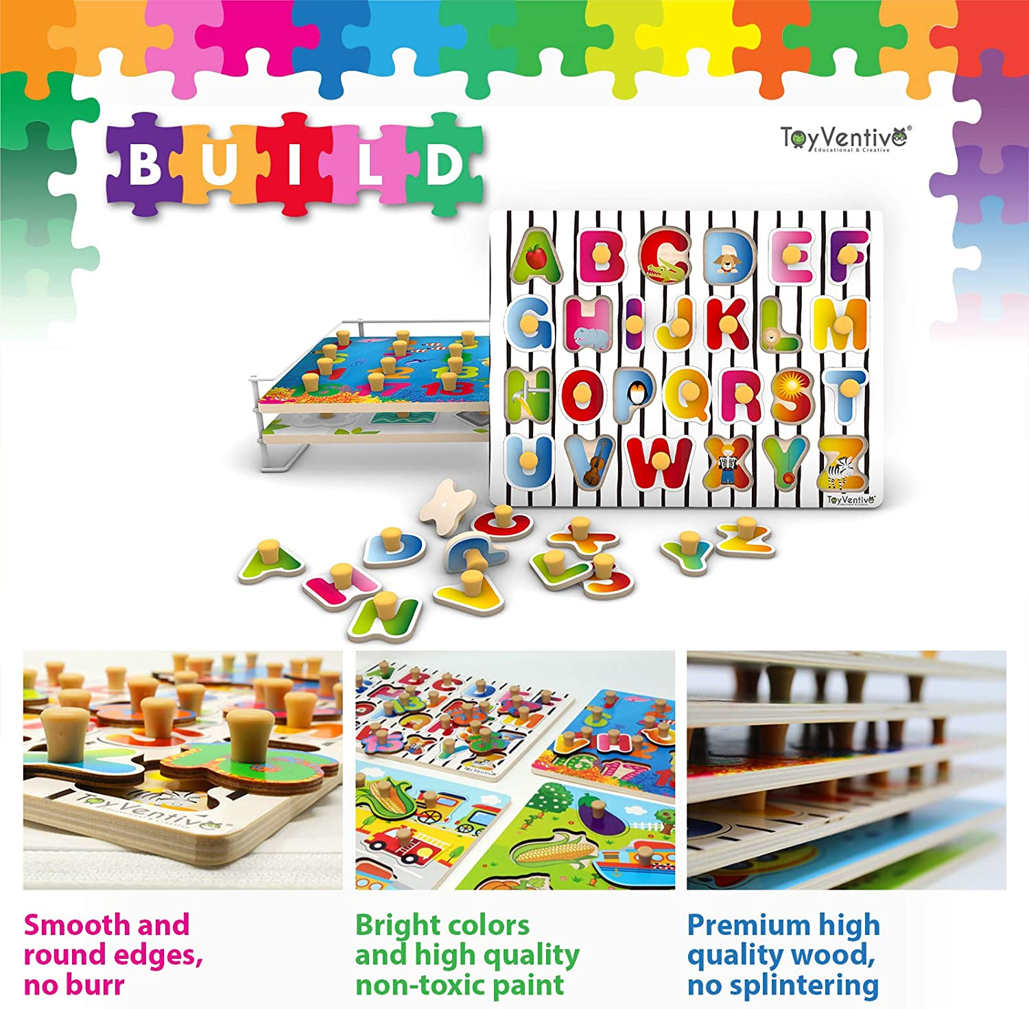 Shape Alphabet TOYVENTIVE Wooden Toddler Puzzles with Storage Rack 3 Pack Wood Preschool Peg Knob Puzzle with Wire Holder Organizer Rack for Kids Number