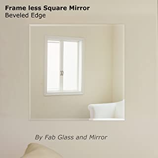 Fab Glass and Mirror Square Beveled Polished Frameless Wall Mirror with Hooks, 30