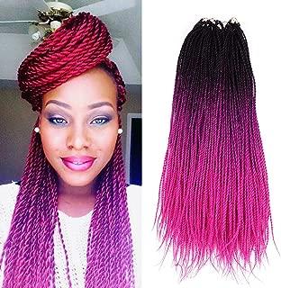 Ombre Senegalese twist 2x Kanekalon Synthetic crochet braiding hair 5 packs/lot 24inch (black pink)