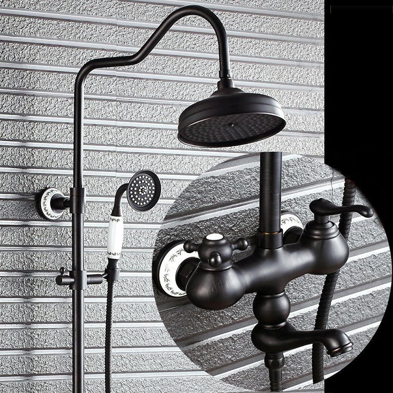 AiRobin-Kontinentales Badezimmer an der Wand befestigte zwei Griffe l geriebenes Bronze Duschsystem