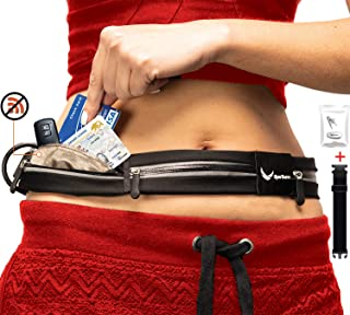 [Voted #1 Running Belt] 3 Pocket Runners Fanny Pack w/RFID Blocking Pouch - for iPhone & Samsung Phones - No Bounce, Waterproof, Reflective, Dog & Travel Belt! Sleekest, Most Functional in The World!