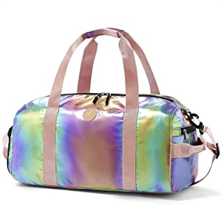 Gym Duffel Bag Women Overnight Medium Lightweight Foldable Weekender Travel Luggage Sport Athletic Water-proof Dry Wet Sho...