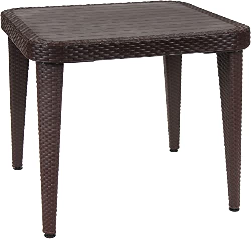 discount Sunnydaze All-Weather Square Patio Dining Table with Faux Wood Grain Top - Wenge - Plastic wholesale Indoor/Outdoor Table with Faux Wicker Design - Perfect for Porch, Deck or Dining Room - 35.25 Inches popular Square outlet sale