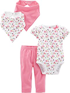 Simple Joys by Carter's Baby Girls' 4-Piece Bodysuit, Pant, and Bibs Set