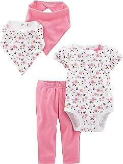 Baby Girls' 4-Piece Bodysuit, Pant, and Bibs Set