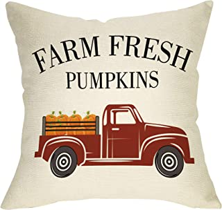 Ussap Farm Fresh Pumpkins Fall Decoration Thanksgiving Day Farmhouse Decorative Throw Pillow Cover Cushion Case for Sofa Couch Vintage Red Truck Autumn Harvest Sign Home Decor Cotton Linen 18