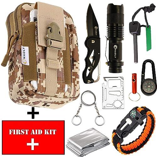 NAOLY Kit De Survie 47 en 1 avec Trousse Militaire Molle Et Premier Secours Inclus. Nombreux Outils Tels Que Couteau Pliant, Allume Feu, Lampe Torche LED Tactique, Bracelet Paracorde d'urgence.