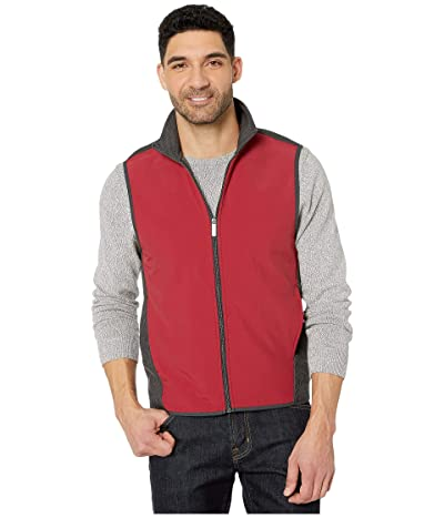 Perry Ellis Color Block Stretch Full Zip Fleece Vest (Red Dahlia) Men