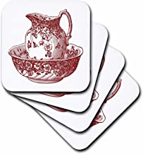 3dRose Maroon Red Antique Pitcher and Bowl - Ceramic Tile Coasters, Set of 4 (CST_80283_3)