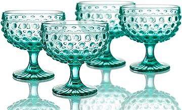 Elle Decor 29804-4PBGR Bistro Dot Pedestal Bowls, 4.3 x 4.3, Green