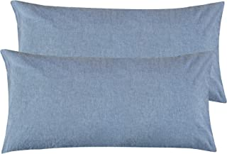 NTBAY King Size Stone Washed Cotton Pillowcase, 2-Pack Reduces Allergies and Respiratory Irritation Vintage Style Breathable Pillow Cases, 20 x 36 Inches, Denim Blue