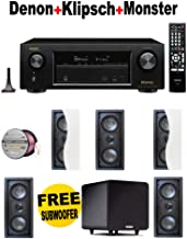 Denon AVR-X1200W 7.2 Channel Full 4K Ultra HD A/V Receiver with Bluetooth and Wi-Fi + 5 Klipsch - R2502WII + POLK AUDIO - PSW111 + Monster Cable - PLATXPMS50 Bundle