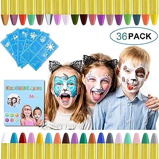 URAQT schmink voor kinderen, 36 kleuren schminkkrijtjes met 30 stuks schildersjablonen, veilige niet-giftige bodypaintkrij...