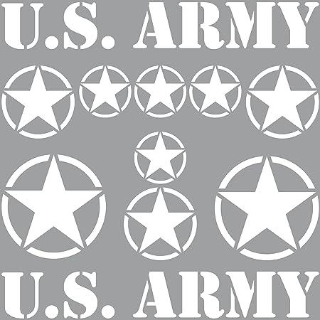 Greenit Set Sterne Schriftzug Us Army Mp Jeep Tuning Aufkleber Tattoo Die Cut Car Decal Auto Deko Folie Weiß Auto