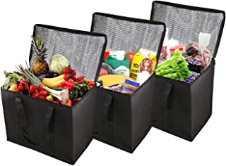 Houseables Insulated Grocery Bag, Food Delivery Bags, 3 Pack, Black, Extra Large XL, Reuseable, Thermal Tote, Transport Cooler, For Hot Cold Groceries, Frozen Foods, Shopping, With Zipper