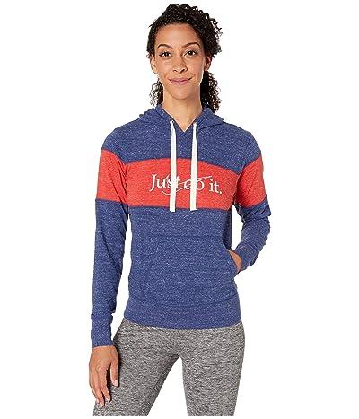 Nike NSW Gym Vintage Hoodie Stripe (Blue Void/Heather/University Red/Sail) Women