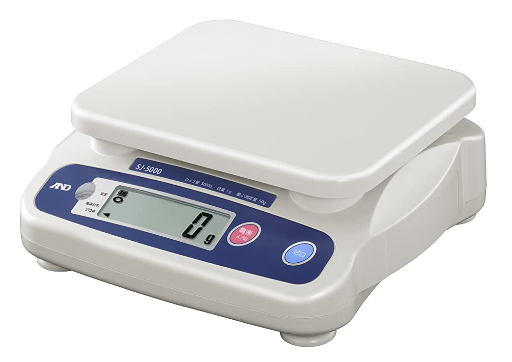 オアシスデッキプロフィールA&D 取引証明用 デジタルはかり SJ-5000 ?ひょう量:5000g 最小表示:5g(使用範囲:50~5000g) 皿寸法:230(W)*190(D)mm 検定付:使用地区制限なし?