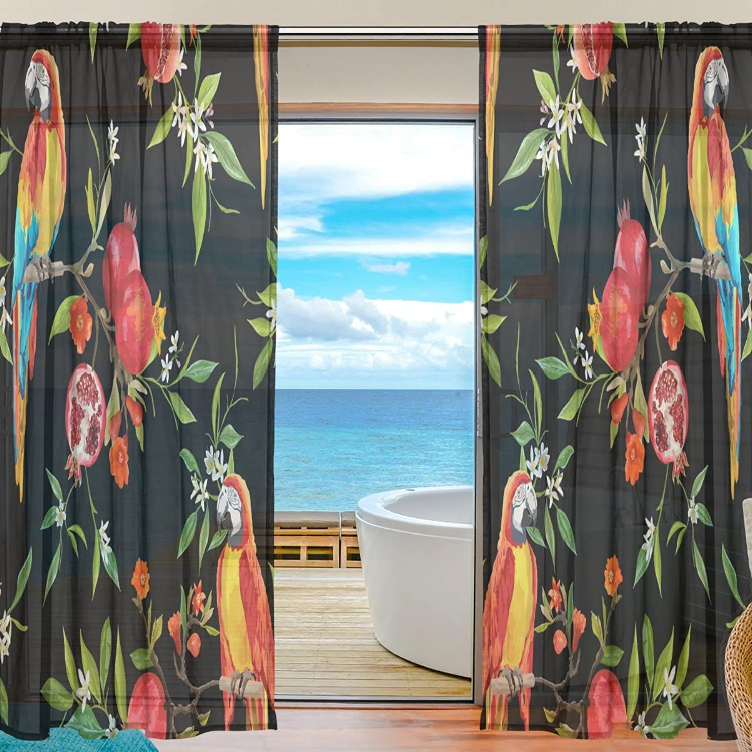Vantaso Sheer Curtains 78 inch Long colorful Parred Floral Pomegranate Bloom for Kids Girls Bedroom Living Room Window Decorative 2 Panels