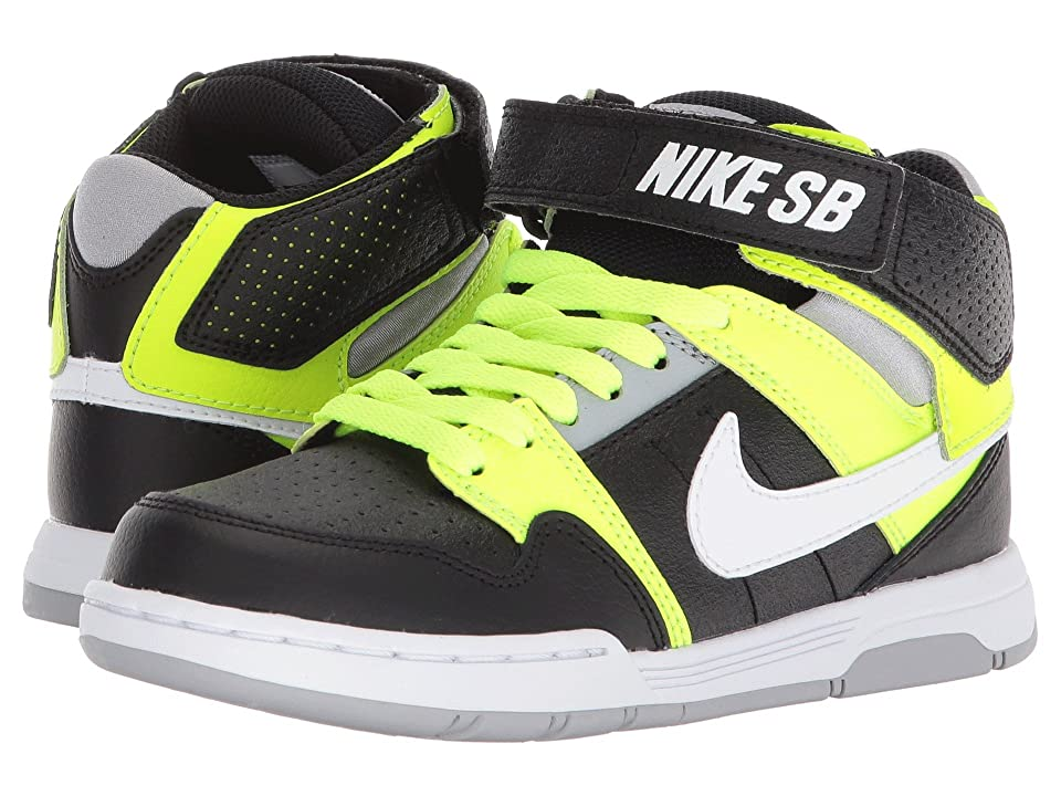 Nike SB Kids Mogan Mid 2 Jr (Little Kid/Big Kid) (Black/White/Volt/Wolf Grey) Boys Shoes