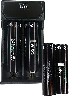 Telsa - USB-laddningsport med flera fack med 2 GRATIS 18650 batterier. Multibatteriladdare CE/ROHS-godkänd. Justerbara bat...