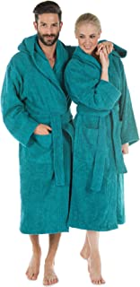 CelinaTex Montana Bathrobe Hooded Plain Long Patched Pockets Stitching Women Men Unisex 100% Cotton S Turquoise