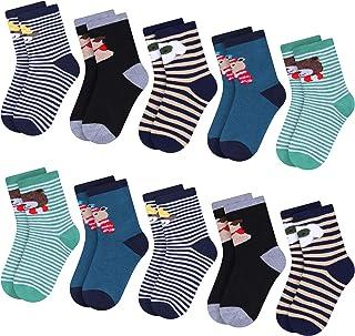 Libella, 10 pares de calcetines de algodón de felpa con estampado animal cálido otoño invierno colorido para niños 2815