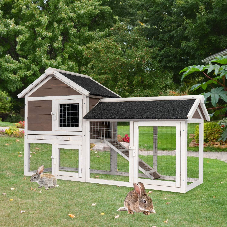 Buy KINTNESS 8 Tier Wooden Bunny Hutch Rabbit Cage Guinea Pig Coop ...