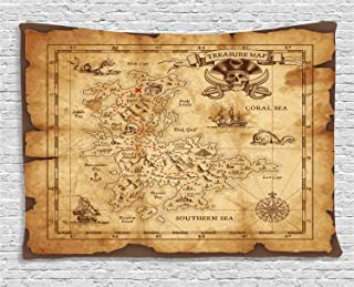 Ambesonne Island Map Tapestry, Super Detailed Treasure Map Grungy Rustic Pirates Gold Secret Sea History Theme, Wide Wall Hanging for Bedroom Living Room Dorm, 60