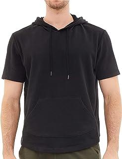 Dubinik - Sudadera ligera con capucha para hombre, manga corta y bolsillo canguro