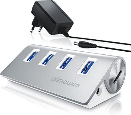 Primewire – Attivo 3.0 USB Hub a 4 Porte | Incluso Alimentatore | 4 Port Hub (distributore) | per Notebook/Netbook/Computer Portatile/ultrabook/Tablet PC/iMac, MacBook