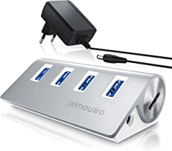 Primewire - Attivo 3.0 USB Hub a 4 Porte - Incluso Alimentatore - 4 Port Hub distributore - per Notebook Netbook Computer Portatile ultrabook Tablet PC Mac MacBook