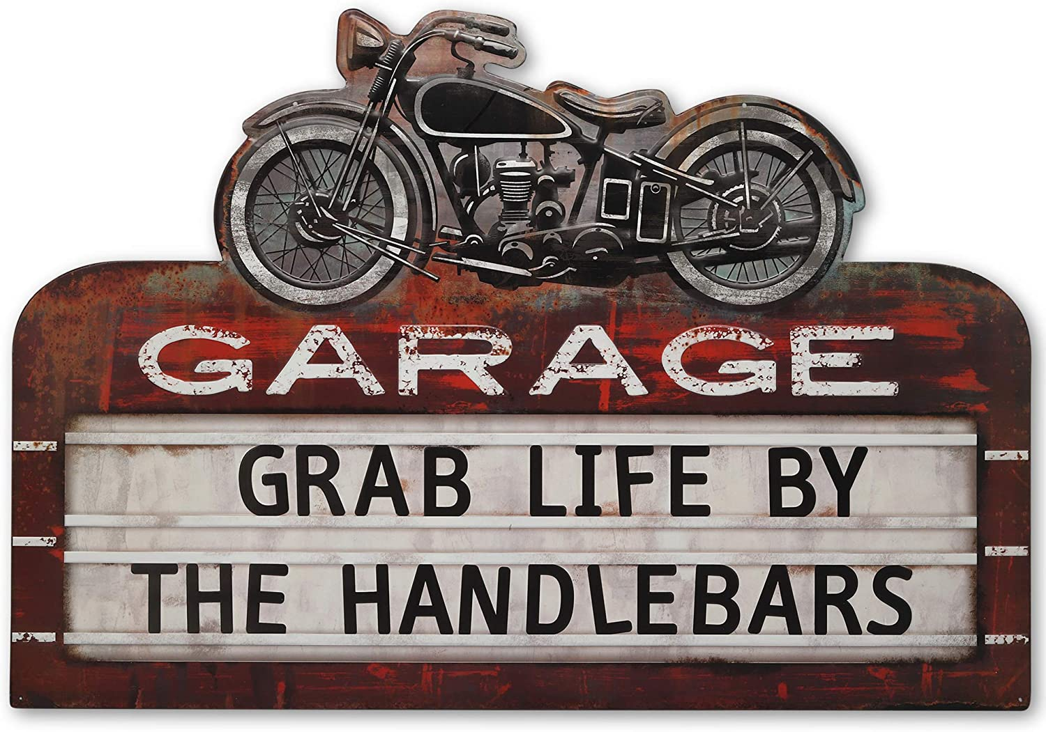 Genuine Translated Open Road Brands Grab Life by Sign Embossed Metal The Handlebars