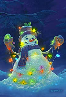 Toland Home Garden Glowman Snowman 12.5 x 18 Inch Decorative Winter Christmas Light Garden Flag - 119631, White/Blue/Purple