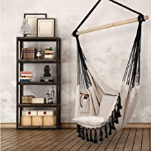 Hammock Chair | Hanging Rope Swing Seat for Indoor & Outdoor | Soft & Durable Cotton Canvas | 2 Cushions Included | Large Reading Chair with Pocket for Bedroom, Patio, Porch (Ivory & Black)