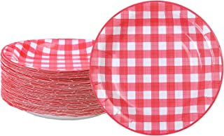 Aneco 60 Pieces Red and White Plaid Paper Plates Disposable Plates Round Plates Party Supplies for Party,7 Inches