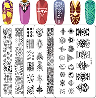 Kyerivs Nail Stamping Plates Lace Flower Pattern Nail Art Stamp Fruit Geometric Nail Stamping Kit Template Scraper Stamper Set, 6Pcs