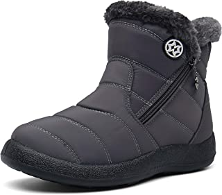 Womens Fur Lined Winter Snow Boots Warm Ankle Boots Waterproof Outdoor Booties Comfortable Shoes Women