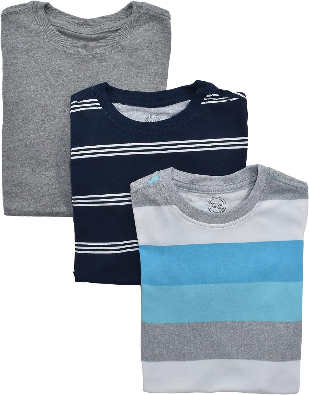 Wonder Nation Boys Recommendation 3 Pack Blue T-Shirts Stripe Popular overseas Sleeve Short