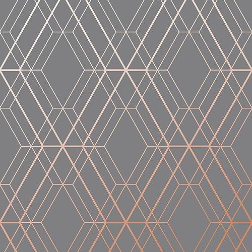 Metro Diamond Geometric Wallpaper - Charcoal and Copper - WOW002 World of Wallpaper