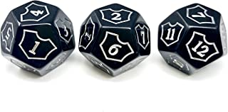 Hedral MTG D12 Spin-Down Loyalty Counter Dice 3 Die Set Black - Magic: The Gathering TCG CCG Planeswalker