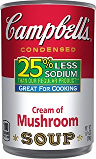 Campbell's Condensed 25% Less Sodium Cream of Mushroom Soup, 10.5 oz. Can (Pack of 12)