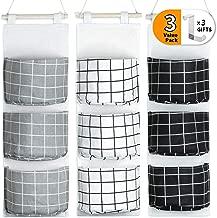 Crowned 3 Packs Hanging Storage Door Wall Mount Organizer - 3 Pockets Multi Functional Living Room Bedroom Bathroom Waterproof Bag Free Hooks - Black White Gray