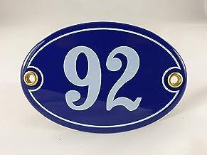 Emaille huisnummerbordje nr. 92, ovaal, blauw-wit Nr. 92 Blau-Weiß + Schrauben und Dübel