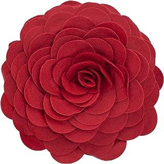Fennco Styles Eva's Flower Garden Decorative Throw Pillow Cover, 13 Inch Round, Red