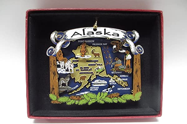 Nations Treasures Alaska State Brass Ornament Travel Vacation Souvenir