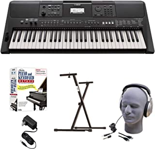 Yamaha PSR-E463 EPY Educational Keyboard Pack with Power Supply, Bolt-On Stand, Headphones, USB Cable, and Instructional Software