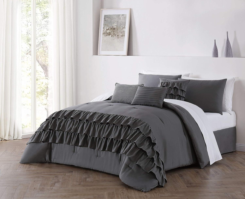 Geneva Home Fashion Reese Comforter Set, Queen, Dark Grey