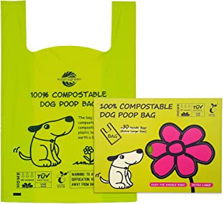 Moonygreen Poop Bags, X-Large Dog Waste Bags, XL Cat Litter, Extra Large Easy-Tie Handles, Vegetable-Based Bag for Waste, ...